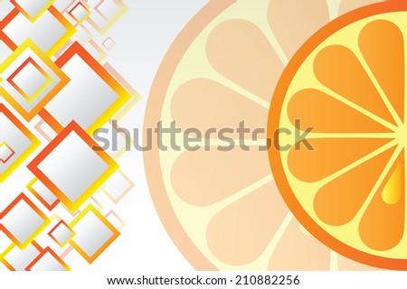 Juicy orange - bright vector background - stock vector