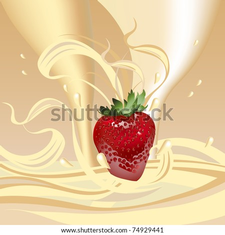 Juicy strawberries in cream. A healthy breakfast with milk. - stock vector