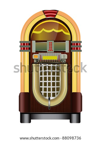 jukebox isolated on a white background, vector - stock vector