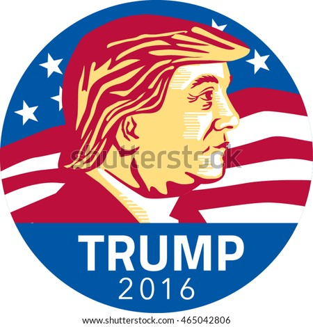 Jul 8, 2016:Illustration showing American Republican president 2016 candidate Donald John Trump with stars and stripes flag in background set inside circle done in stencil retro art style.