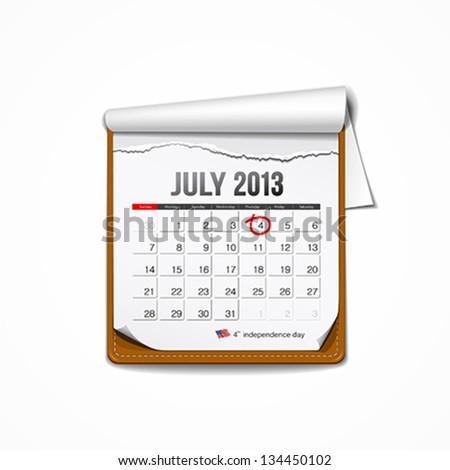 July 2013 American independence day calendar design, vector illustration - stock vector