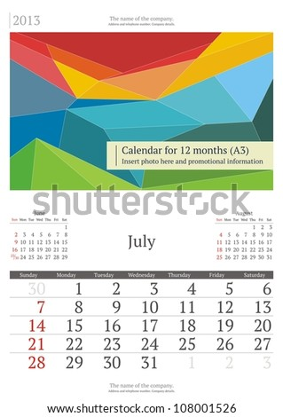 July. 2013 calendar. - stock vector