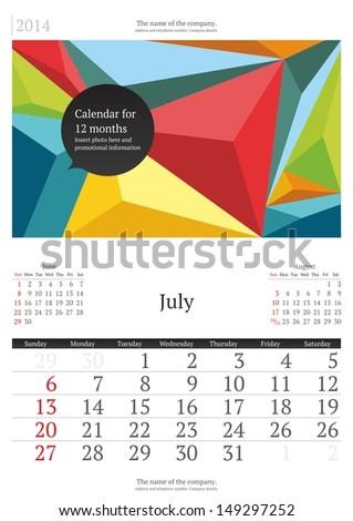 July. 2014 Calendar.  - stock vector