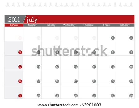 July 2011 Calendar - stock vector