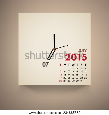 July 2015 Calendar Clock Design Vector  - stock vector