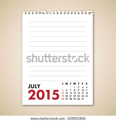 July 2015 Calendar Note Paper Vector  - stock vector