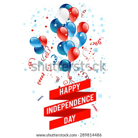 July fourth balloons. Holiday national design for advertising, leaflet, cards, invitation and so on. - stock vector