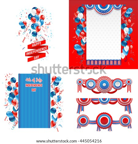July fourth design elements. Independence day card. Holiday template for design banner,ticket, leaflet, card, poster and so on. - stock vector
