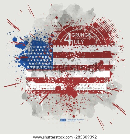 July fourth. Grunge background vector. Grunge print for t-shirt. Abstract dirt backgrounds texture. Grunge banner with an inky dribble strip with copy space. Background Grunge American flag for party - stock vector