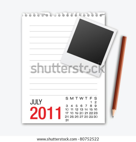 July month calendar note paper with pencil - stock vector