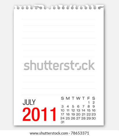 July month calendar 2011 on note paper - stock vector