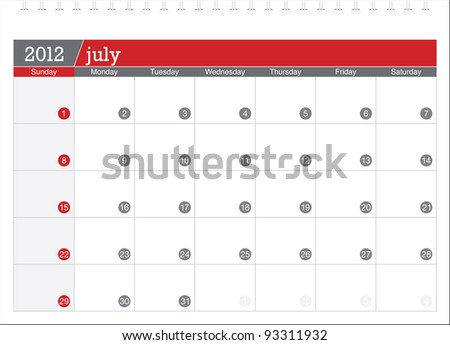 july 2012-planning calendar - stock vector