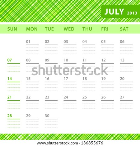July 2013 planning calendar with space for notes. Checked green texture in background. - stock vector