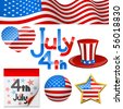 July 4th Independence Day symbols vector set. - stock photo