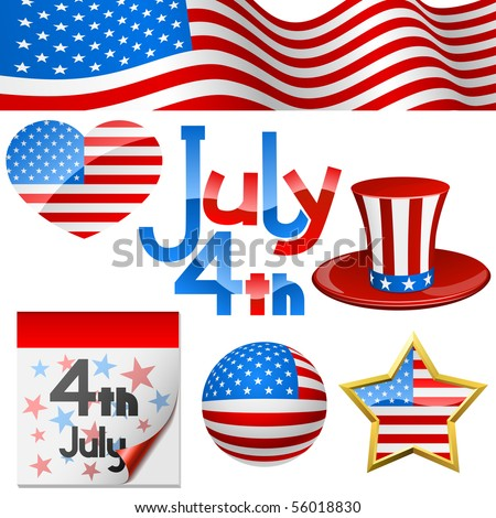 July 4th Independence Day symbols vector set. - stock vector