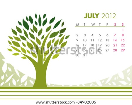 July Tree Calendar 2012. VECTOR