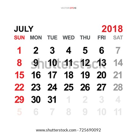 July 2018 Vector Monthly Calendar Template Stock Vector 725690092