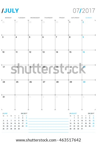 July 2017 Vector Print Template Monthly Stock Photo Photo Vector