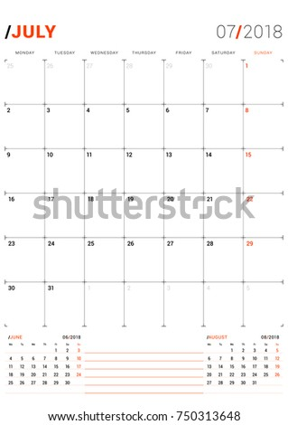July 2018 Vector Print Template Monthly Stock Vector 750313648