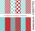 "Jumbo Polka Dot, Gingham and Diagonal Stripes Patterns in Aqua Blue, Dark Red and White. Pattern Swatches with Global Colors. Matches my other ""Modern Christmas Backgrounds"" Image ID: 121350391. - stock"