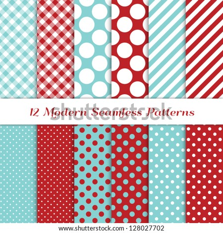 """Jumbo Polka Dot, Gingham and Diagonal Stripes Patterns in Aqua Blue, Dark Red and White. Pattern Swatches with Global Colors. Matches my other """"Modern Christmas Backgrounds"""" Image ID: 121350391. - stock vector"""