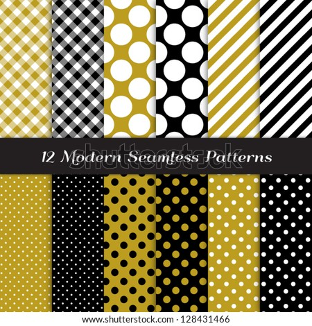 Jumbo Polka Dot, Gingham and Stripes Patterns in Black, Gold and White. Classic neutral colors! Pattern Swatches made with Global Colors - easy to change all patterns in one click. - stock vector
