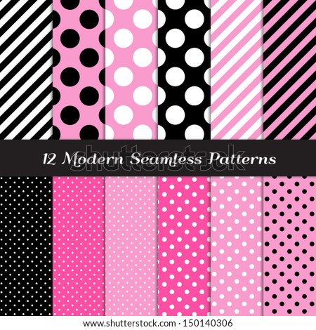 Jumbo Polka Dots, Small Polka Dots and Diagonal Stripes Patterns in Pink, Black, White and Deep Pink. Perfect for Chic Paris or Pink Pirate party background. Pattern Swatches made with Global Colors. - stock vector