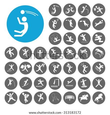 Jump icons set. Illustration EPS10 - stock vector