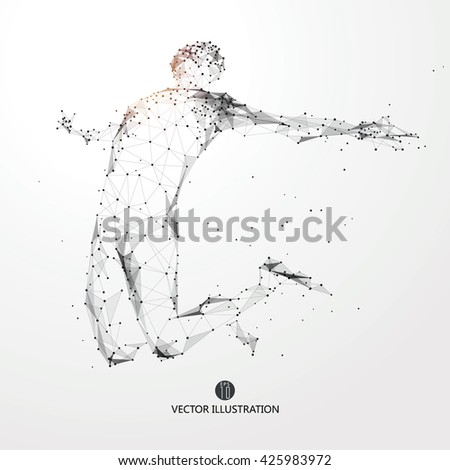 Jump man, points, lines and connected to form, vector illustration. - stock vector