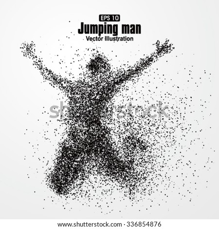 Jump man,Vector graphics composed of particles. - stock vector