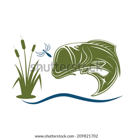 jumping bass for dragonfly - stock vector
