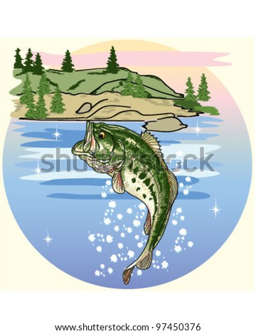 Jumping Bass in the Lake            vector eps10 - stock vector