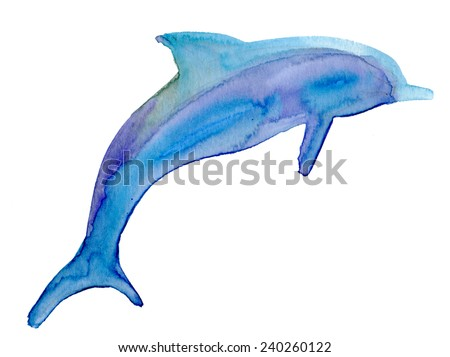Jumping blue dolphin, watercolor painted illustration. Vector. - stock vector