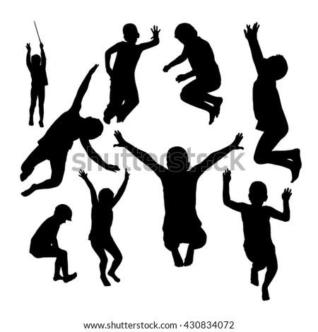 jumping children. Vector - stock vector