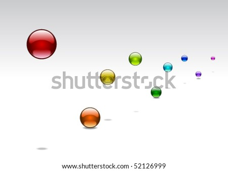 Jumping colorful glossy balls