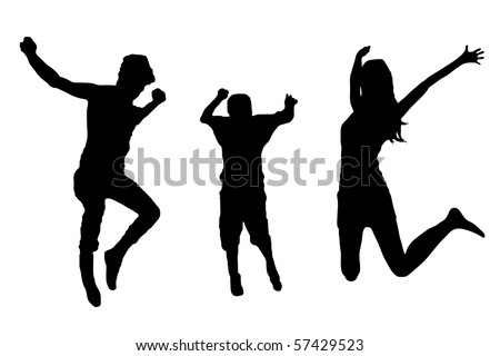 jumping family silhouette - stock vector