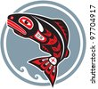 Jumping Fish - Salmon - in Native American Style - stock vector