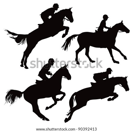 Jumping horses with jockey. Vector illustration on white.