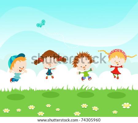 Jumping Kids - stock vector