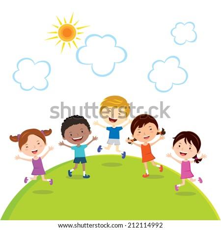 jumping kids. Friends. Children fun in the sun. - stock vector
