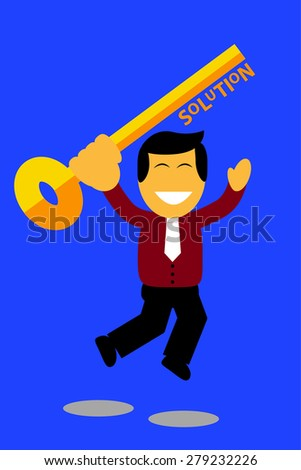 jumping man holding a key, illustration for finding the solution - stock vector