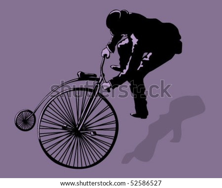 Jumping on a bike. - stock vector