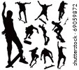 Jumping on skate board silhouettes vector collection. Illustration of ten black poses on white background. - stock photo