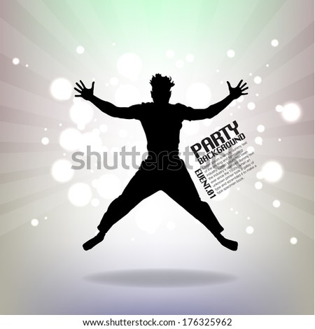 Jumping Party Man - stock vector