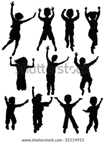 jumping people - stock vector