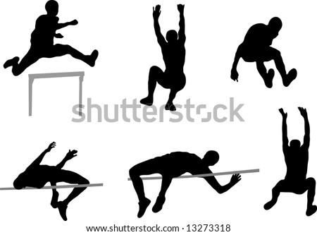 Jumping People - High Jump, Long Jump and Hurdles - stock vector
