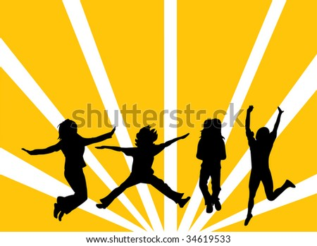 Jumping people silhouettes - stock vector