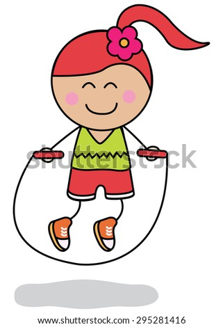Jumping rope sport - stock vector