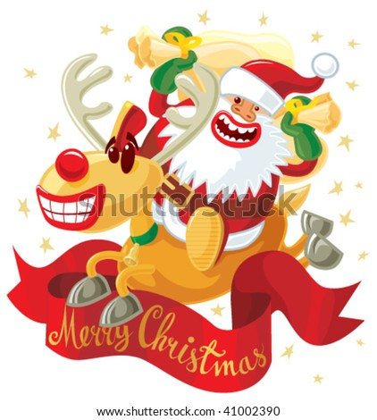 Jumping Rudolph and Santa. Vector without gradients, great for printing. - stock vector