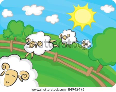 Jumping sheep - stock vector